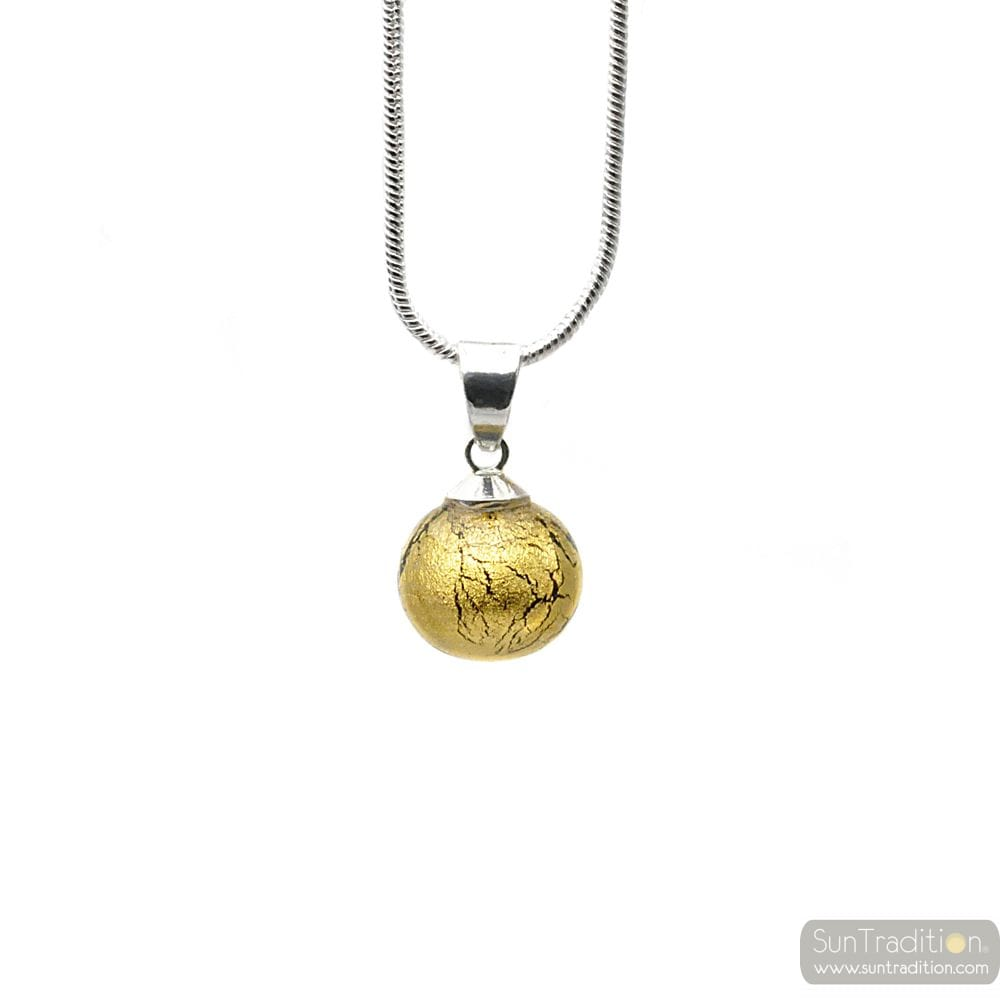 ANHÄNGER GLASPERLEN GOLD KRISTALL UND SILBER HALSKETTE 925