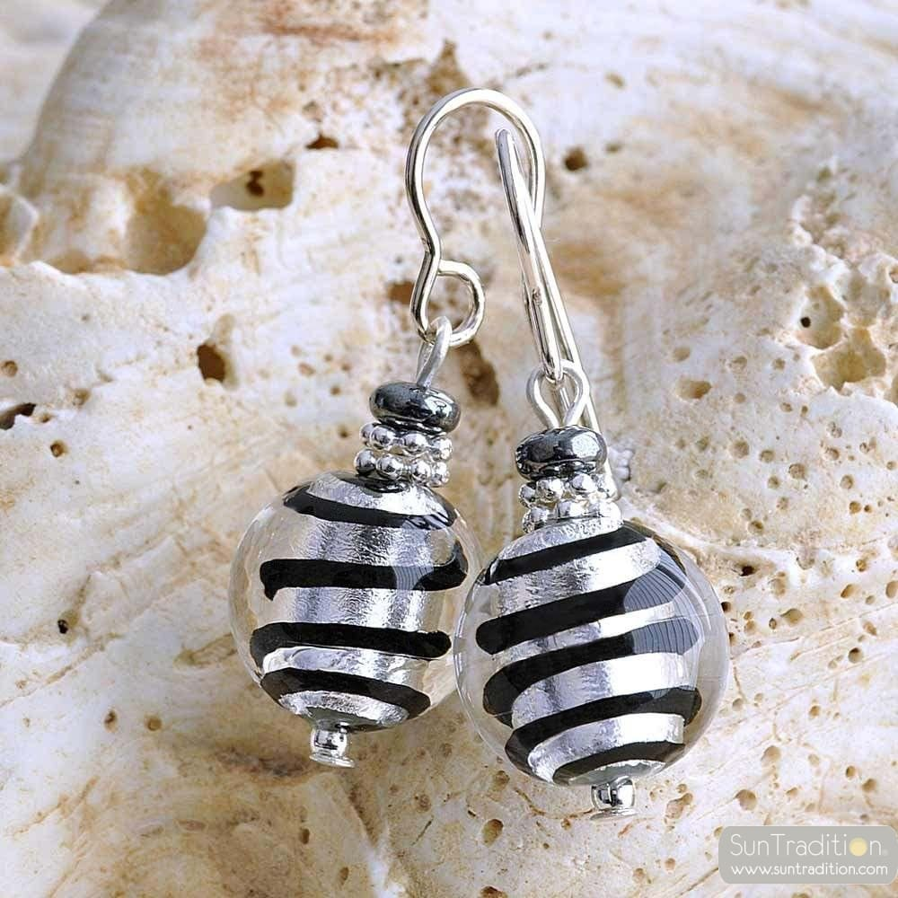 MIX SILVER - SILVER MURANO GLASS EARRINGS GENUINE MURANO GLASS