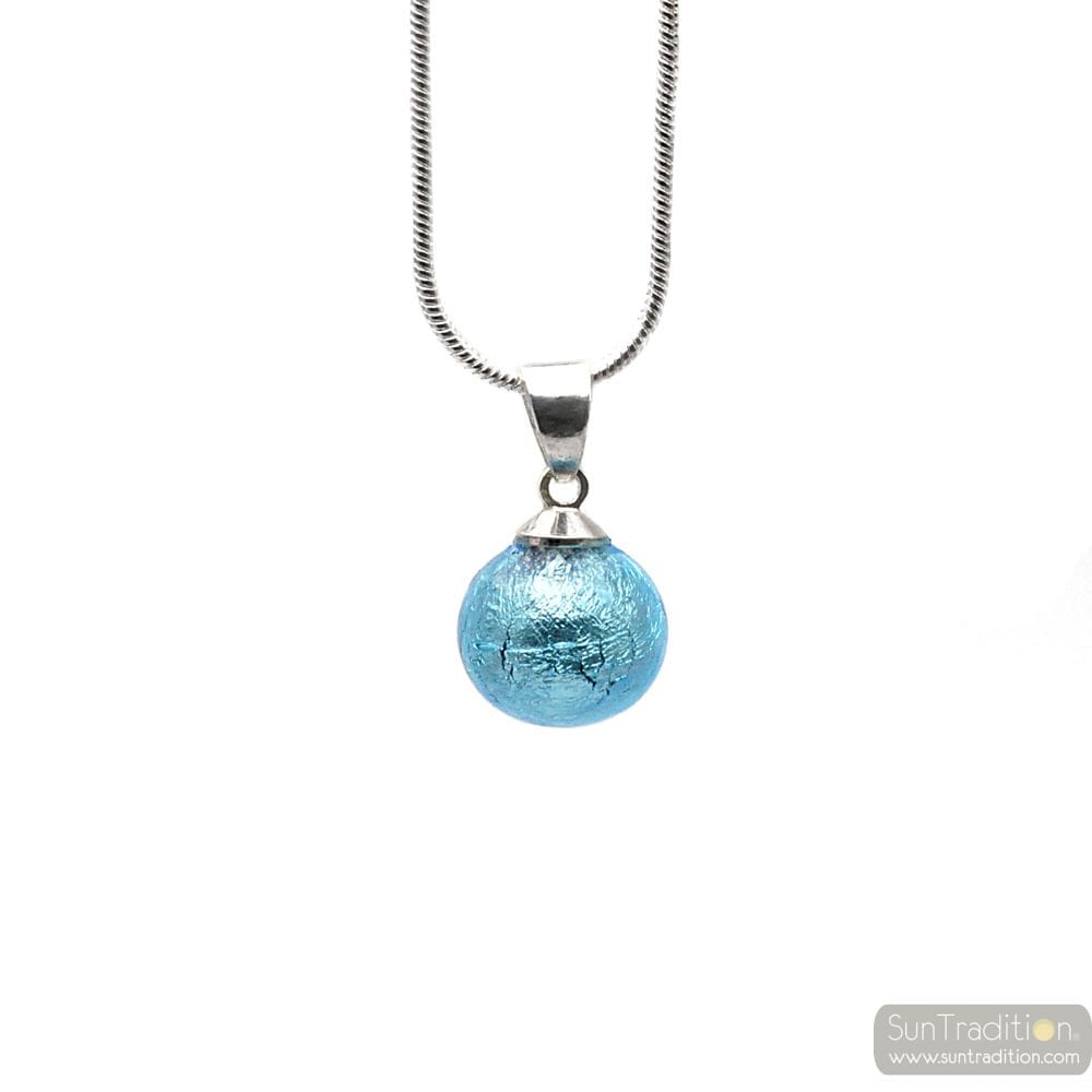 PENDANT GLASS BEADS AZURE BLUE AND NECKLACE SILVER 925