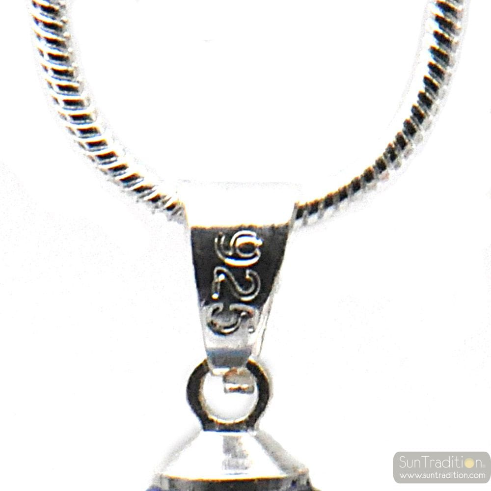 PENDANT KHAKI GLASS BEADS AND SILVER NECKLACE 925