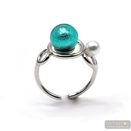 RING YOU AND ME SILVER AND BLUE TURQUOISE PEARL IN MURANO GLASS