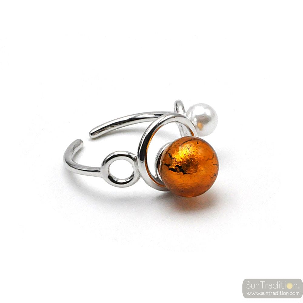 RING YOU AND ME SILVER AND AMBER BEAD IN MURANO GLASS