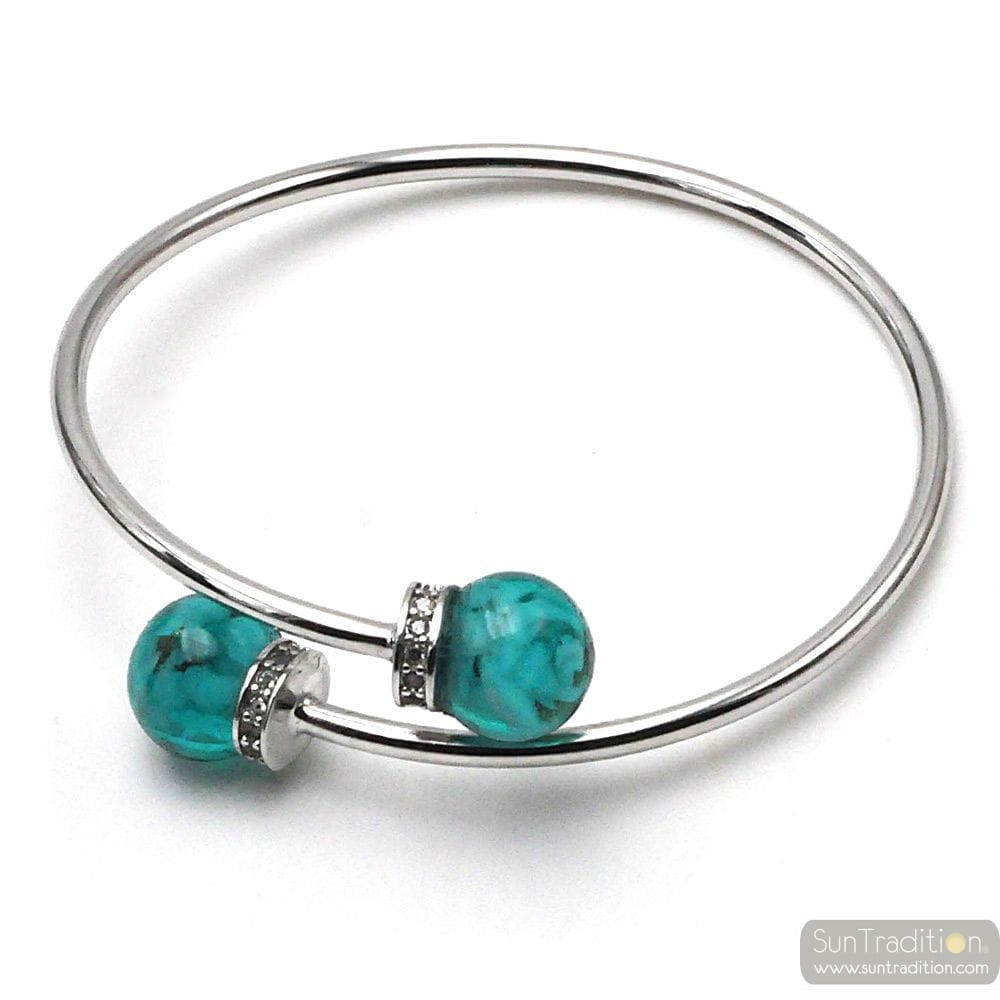 SILVER BRACELET WITH GREEN EMERALD BEADS IN MURANO GLASS FROM VENICE