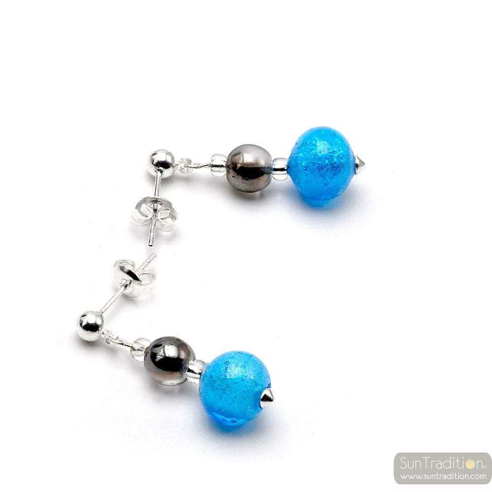 BLUE EARRINGS IN REAL MURANO GLASS FROM VENICE