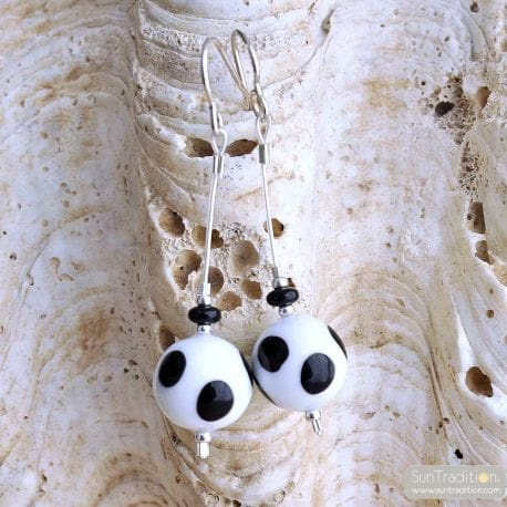 WHITE BLACK PEAS MURANO GLASS EARRINGS GENUINE MURANO GLASS