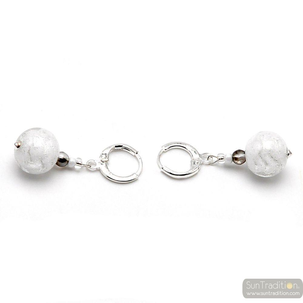 WHITE EARRINGS IN MURANO GLASS FROM VENICE