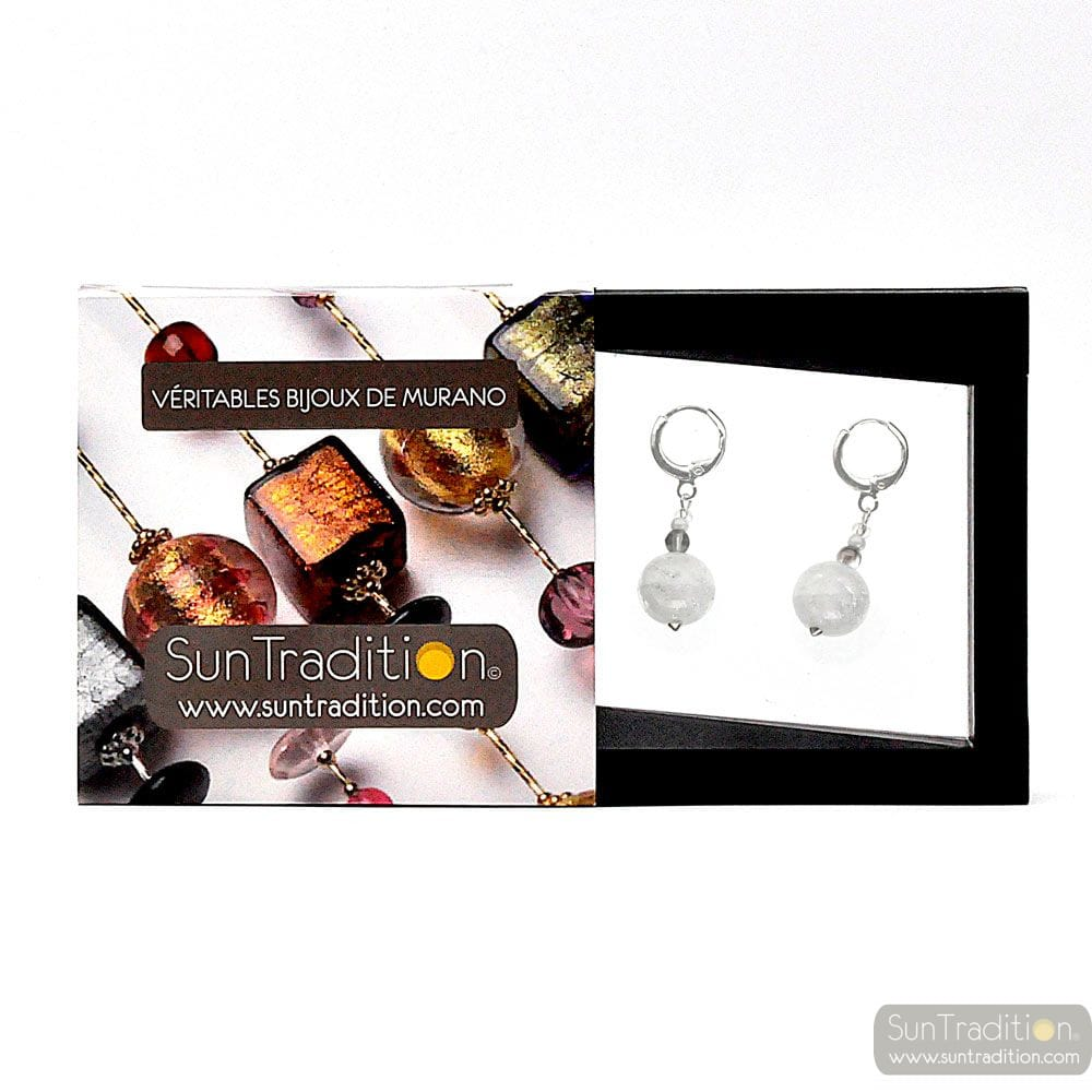 BRIGHT MOON WHITE - WHITE EARRINGS IN REAL MURANO GLASS FROM VENICE