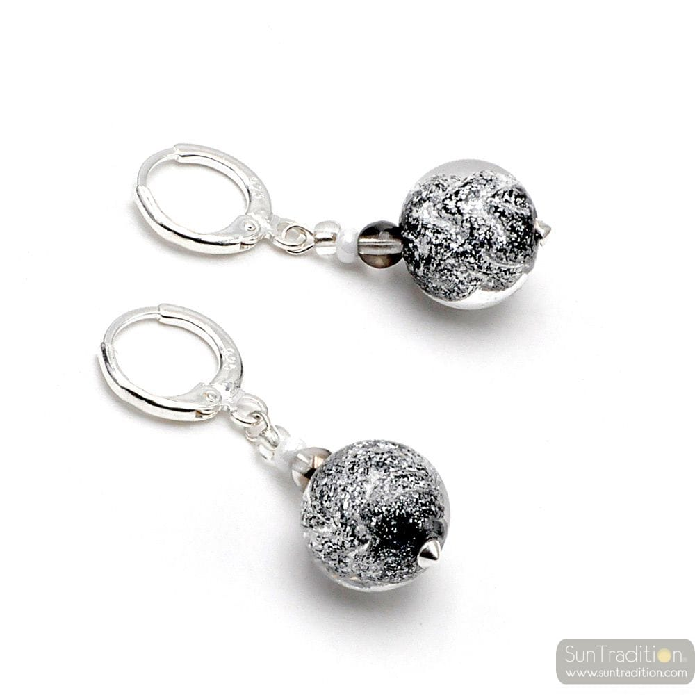 BLACK EARRINGS IN REAL MURANO GLASS FROM VENICE