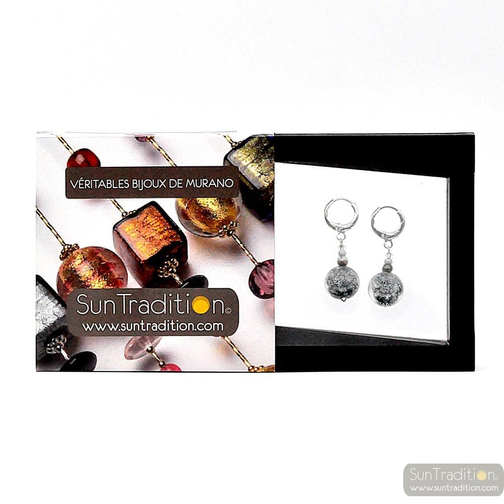 BRIGHT MOON NOIR - BLACK EARRINGS IN REAL MURANO GLASS FROM VENICE
