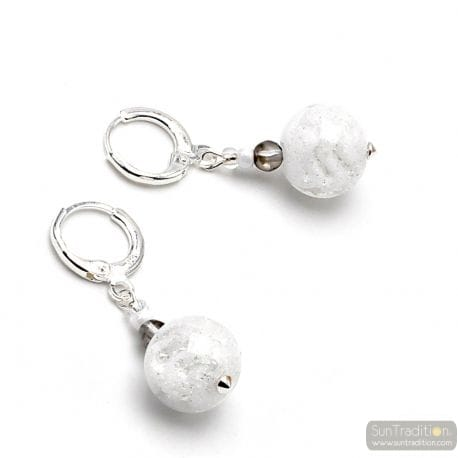 WHITE EARRINGS IN REAL MURANO GLASS FROM VENICE