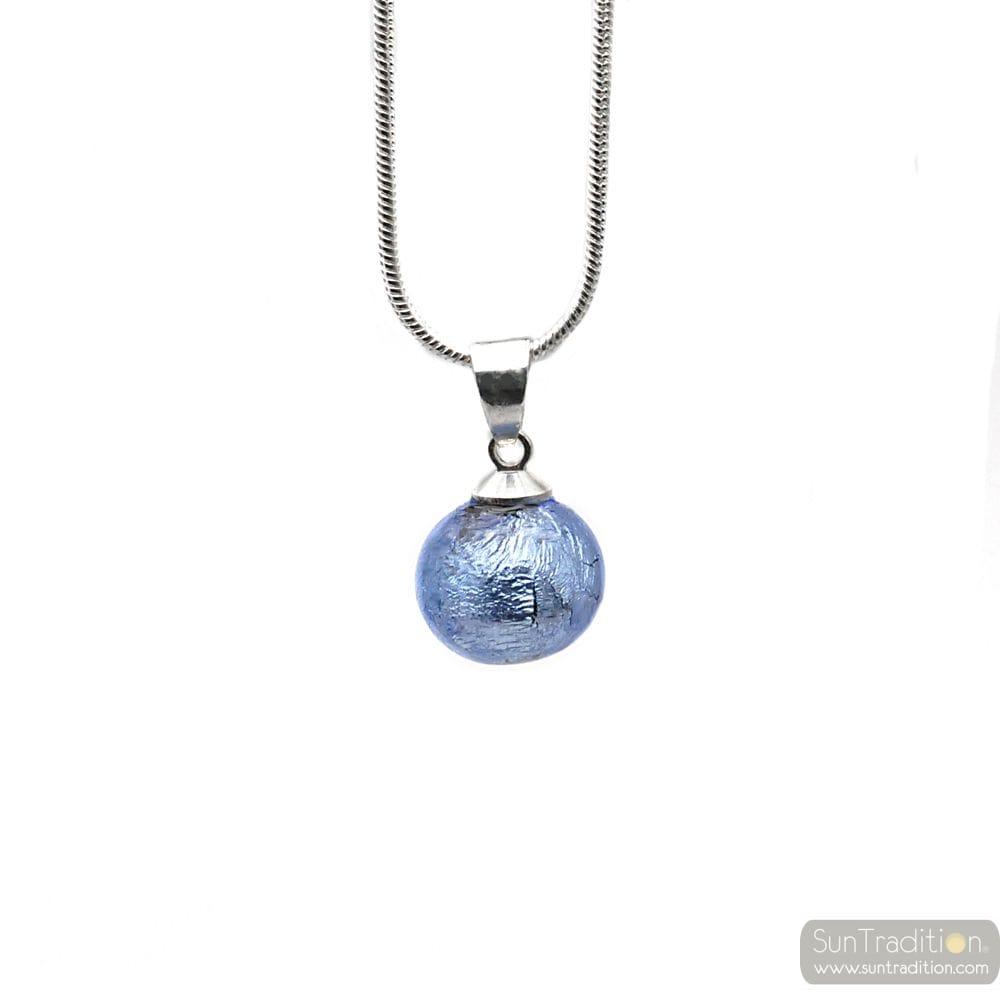 HANGER GLASKRALEN BLAUWE OCEAAN EN ZILVEREN HALSKETTING 925