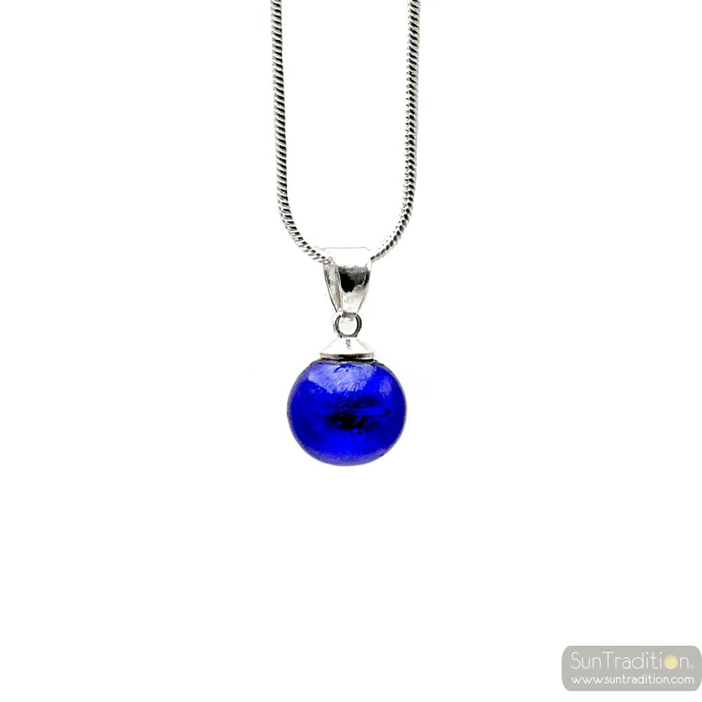 PENDANT COBALT GLASS BEADS AND NECKLACE SILVER 925