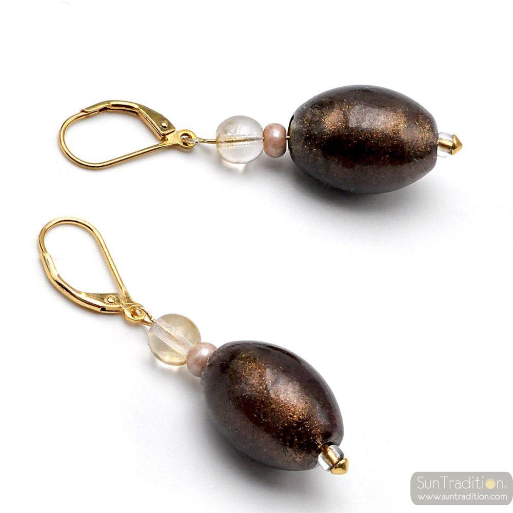 LITTLE BROWN - BROWN AVENTURINE SLEEPING EARRINGS IN GENUINE MURANO GLASS FROM VENICE