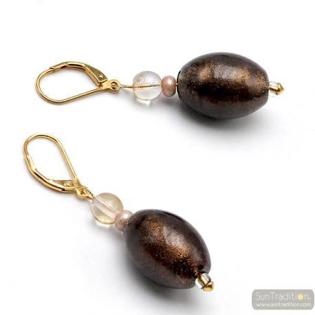 BROWN AVENTURIN LEVERBACK EARRINGS IN GENUINE MURANO GLASS FROM VENICE