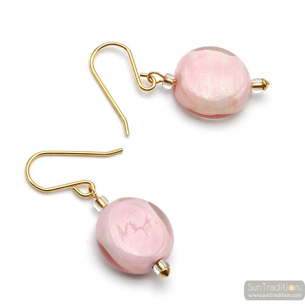 IRIS GLYCINE ROSE - ROSE MURANO GLASS EARRINGS