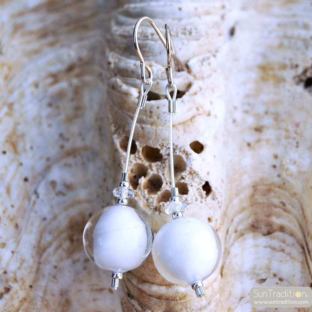 WHITE MURANO GLASS EARRINGS GENUINE MURANO GLASS