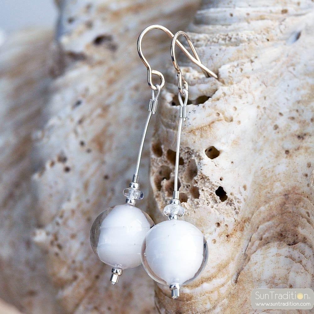 CAMPIONE WHITE - WHITE MURANO GLASS DROP EARRINGS GENUINE