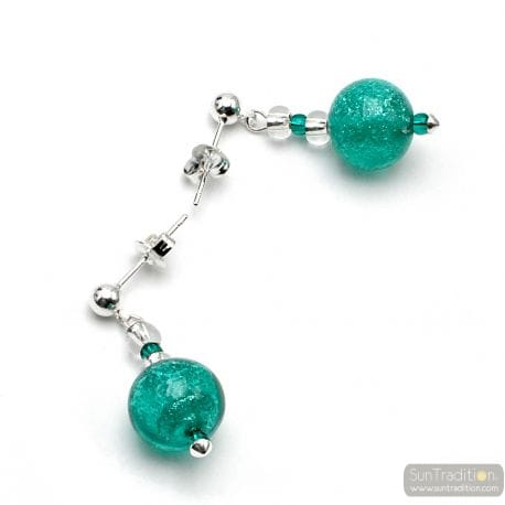 TURQUOISE GREEN EARRINGS IN REAL VENICE MURANO GLASS