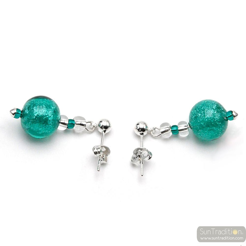 TURQUOISE GREEN MURANO GLASS EARRINGS