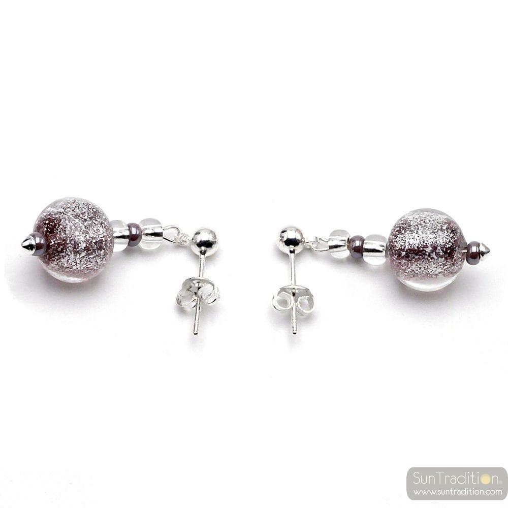 PURPLE MURANO GLASS EARRINGS FROM VENICE