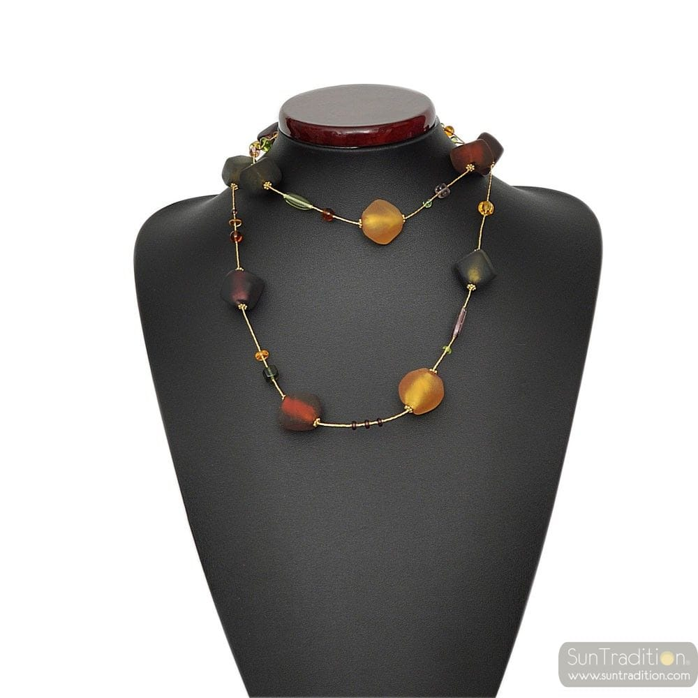 NECKLACE GLASS MURANO GOLD AND AMBER LONG
