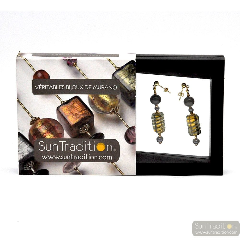 BEE QUEEN GOLD - GOLD PENDANT EARRINGS GENUINE MURANO GLASS JEWELERY FROM VENICE