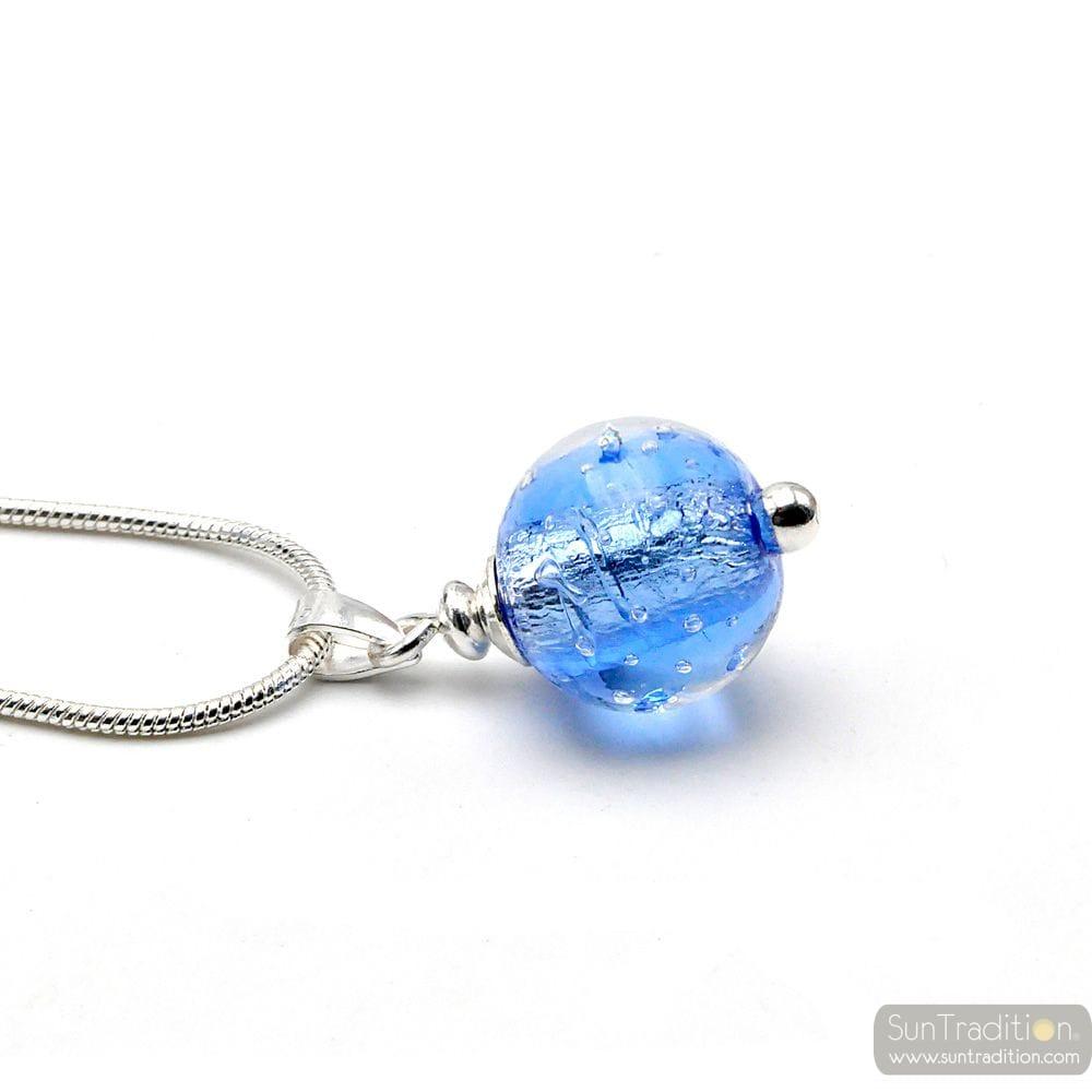 OCEAN BLUE FIZZY GLASS BEADS PENDANT SILVER 925