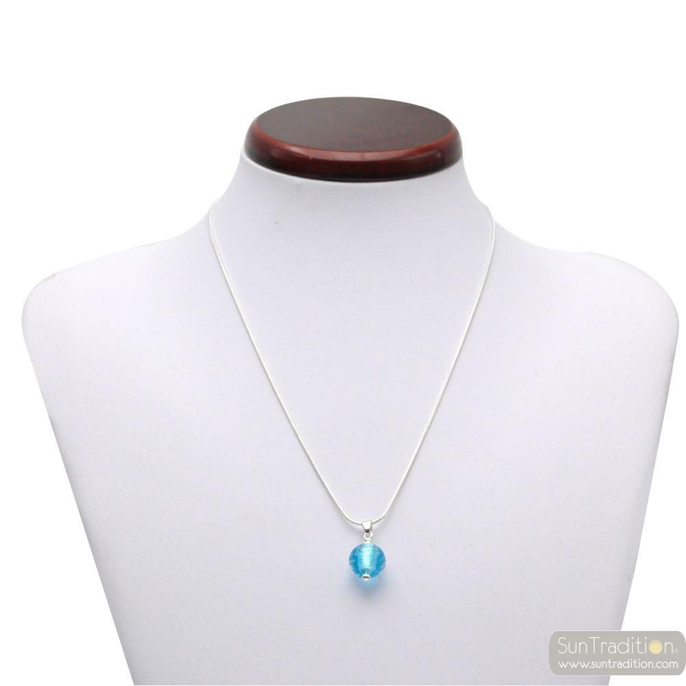 FIZZY AZUR BLUE GLASS PEARL PENDANT SILVER 925