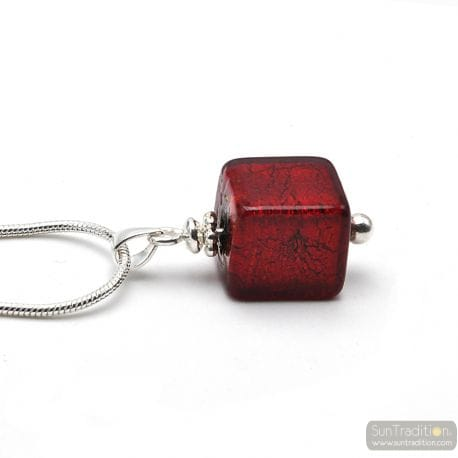 RED AMERICA GLASS PEARL PENDANT SILVER 925