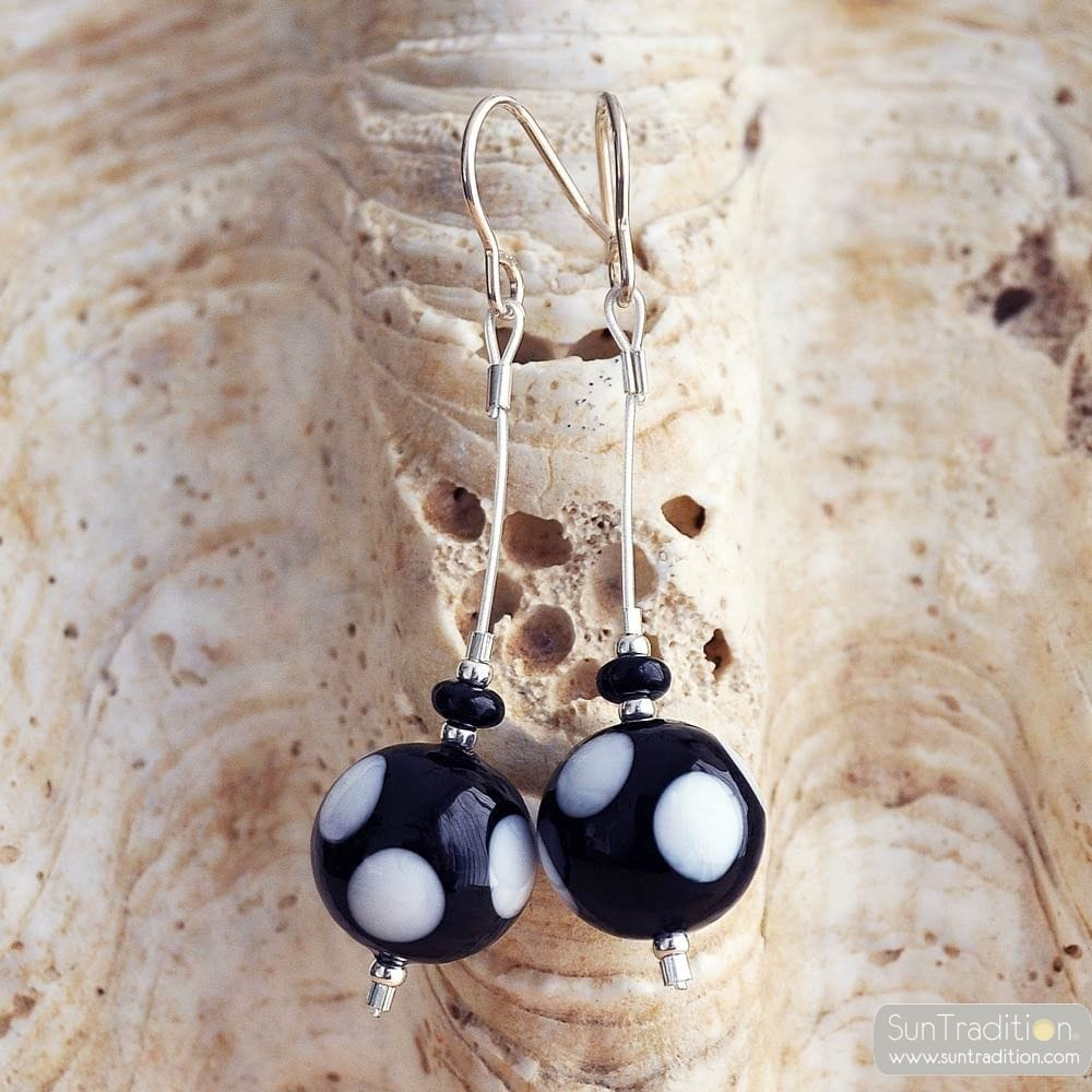 CAMPIONE PEAS BLACK/WHITE EARRINGS GENUINE MURANO GLASS