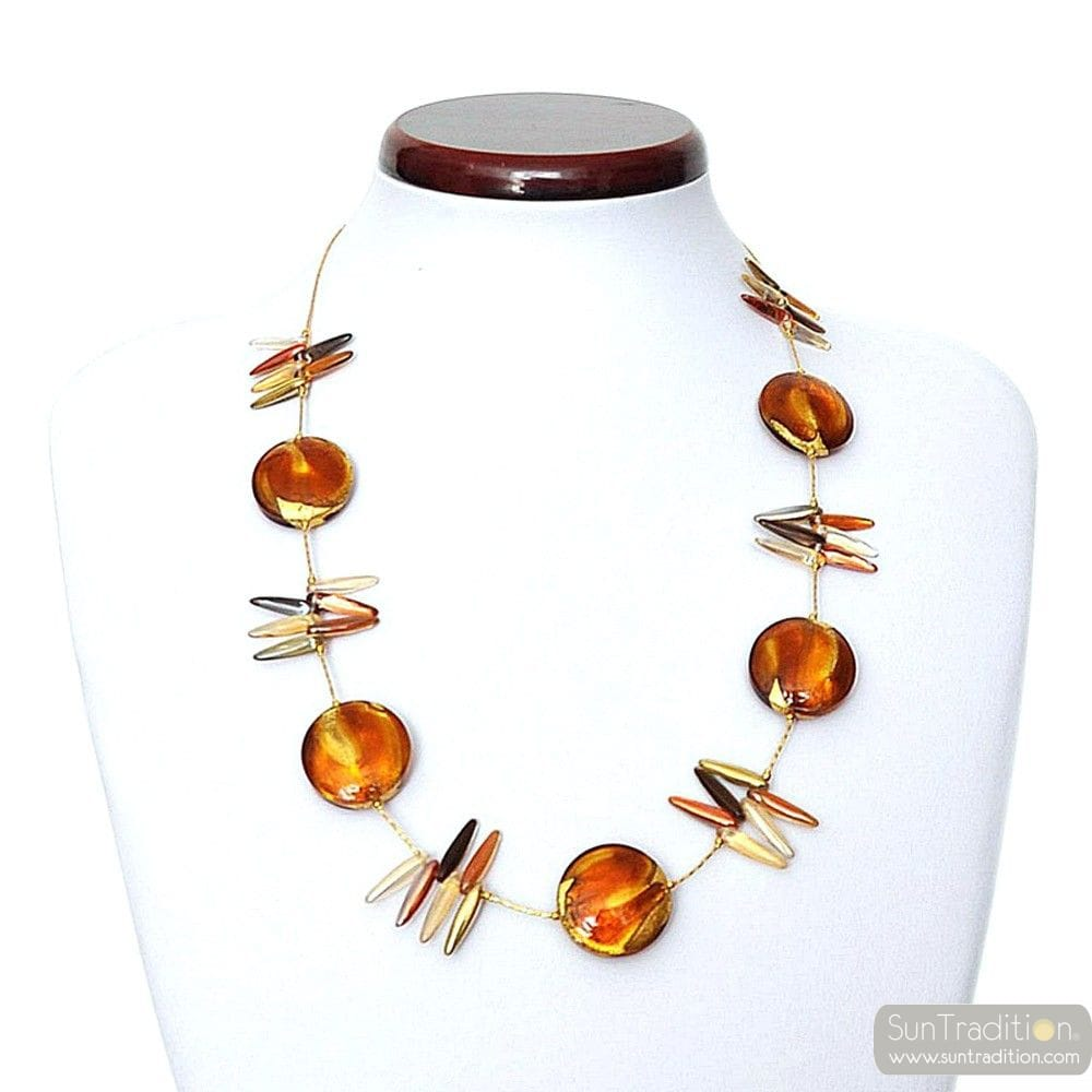 AMBER NECKLACE GENUINE MURANO GLASS OF VENICE ALBATROSS