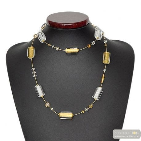 COLLIER VERRE MURANO OR LONG BIJOU VENITIEN
