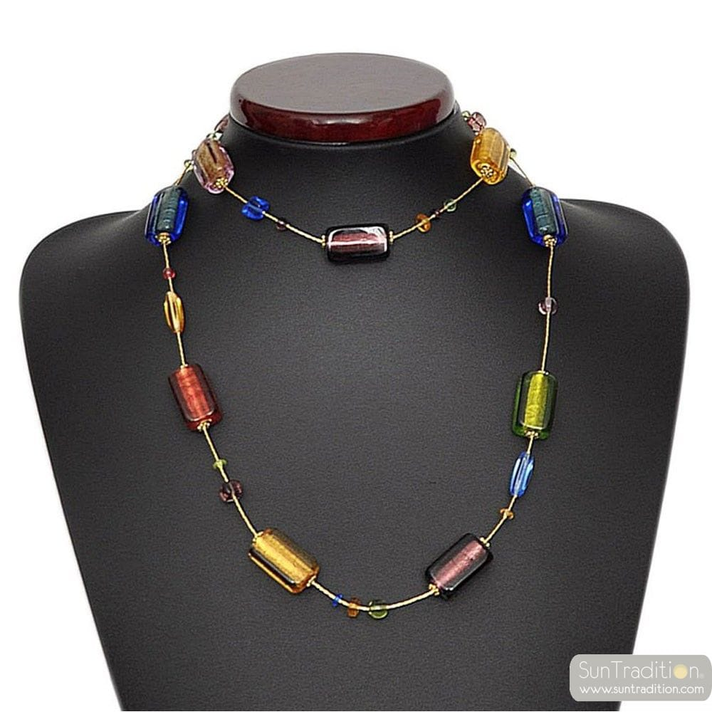 4 SAISONS ETE COLLIER LONG EN VERITABLE VERRE DE MURANO DE VENISE