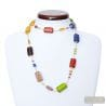 COLLIER VERRE MURANO MULTICOULEUR LONG EN VERITABLE VERRE DE VENISE