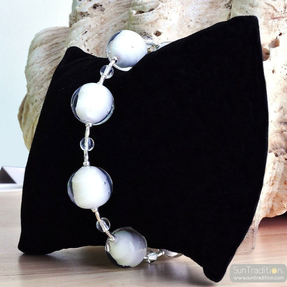 WHITE MURANO GLASS BRACELET