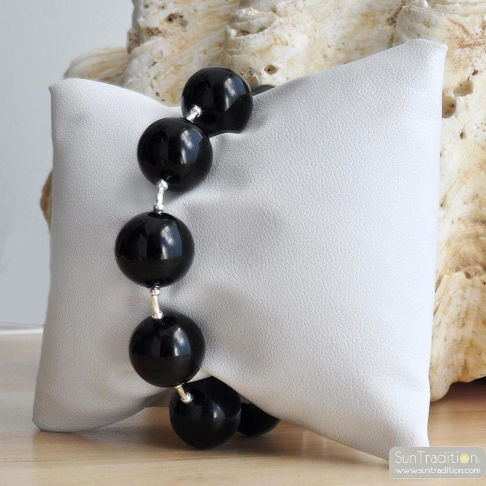 BLACK MURANO - GLASS BRACELET VENETIAN BALL