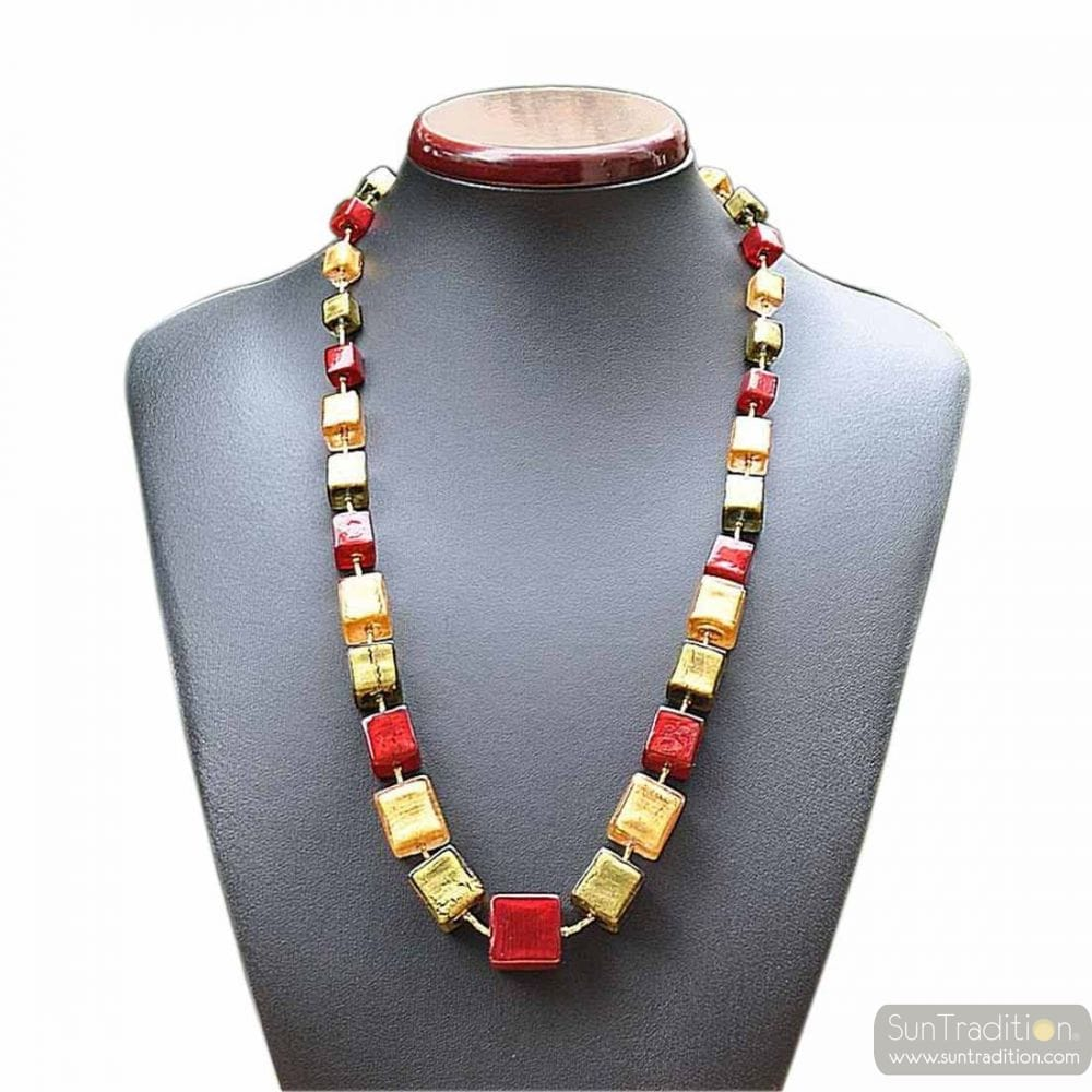 GLASS NECKLACE MURANO RED AND GOLD