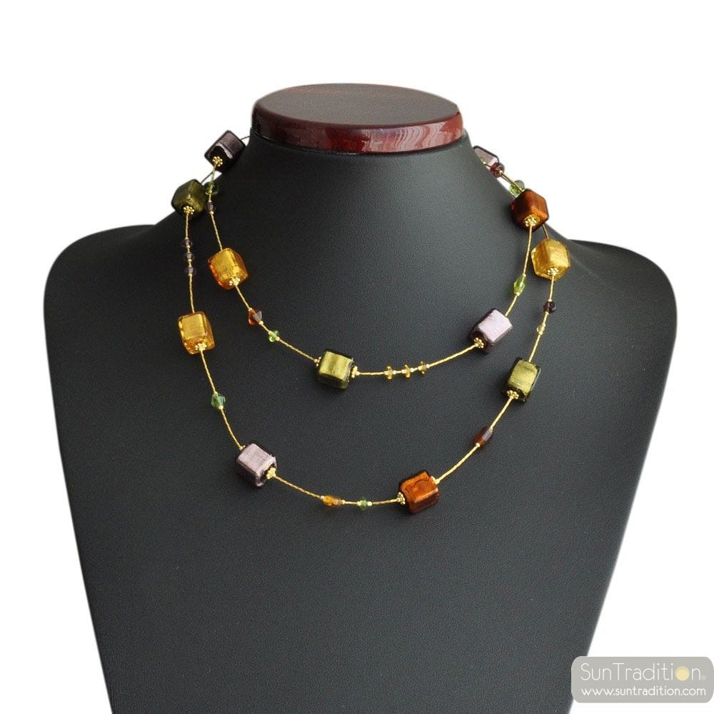 AMERICA LONG NECKLACE AMBER GOLD AND PARMA REAL MURANO GLASS