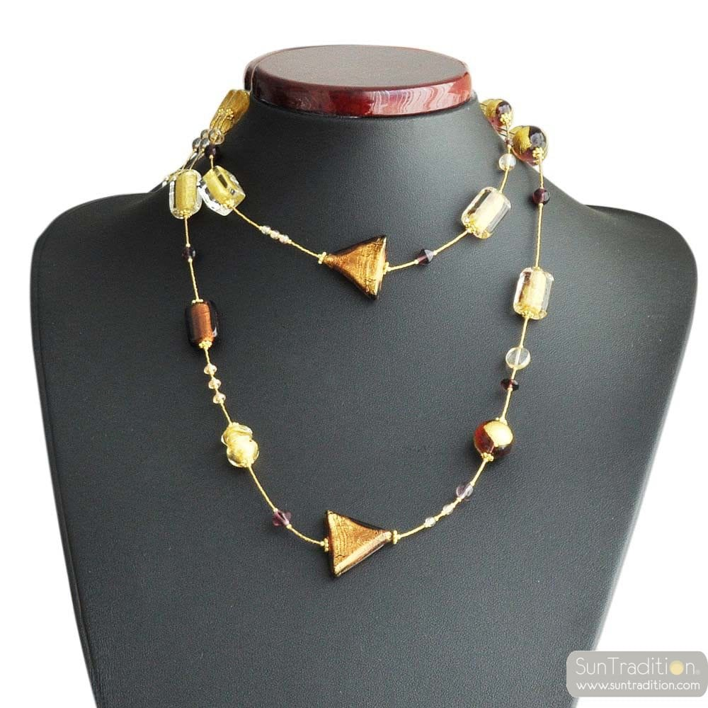 GLASS NECKLACE MURANO-GOLD