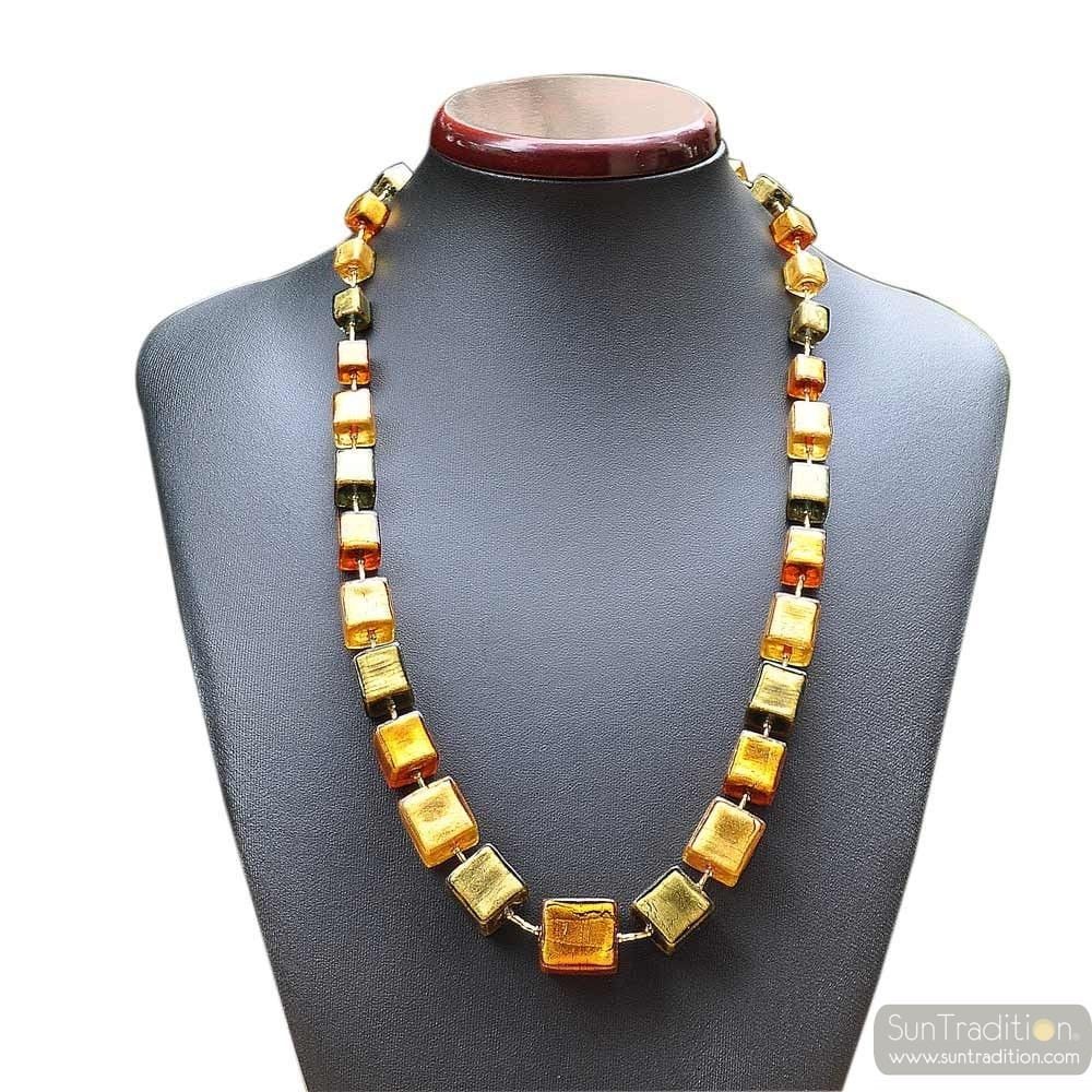GLASS NECKLACE MURANO GREEN AND GOLD JEWEL VENICE