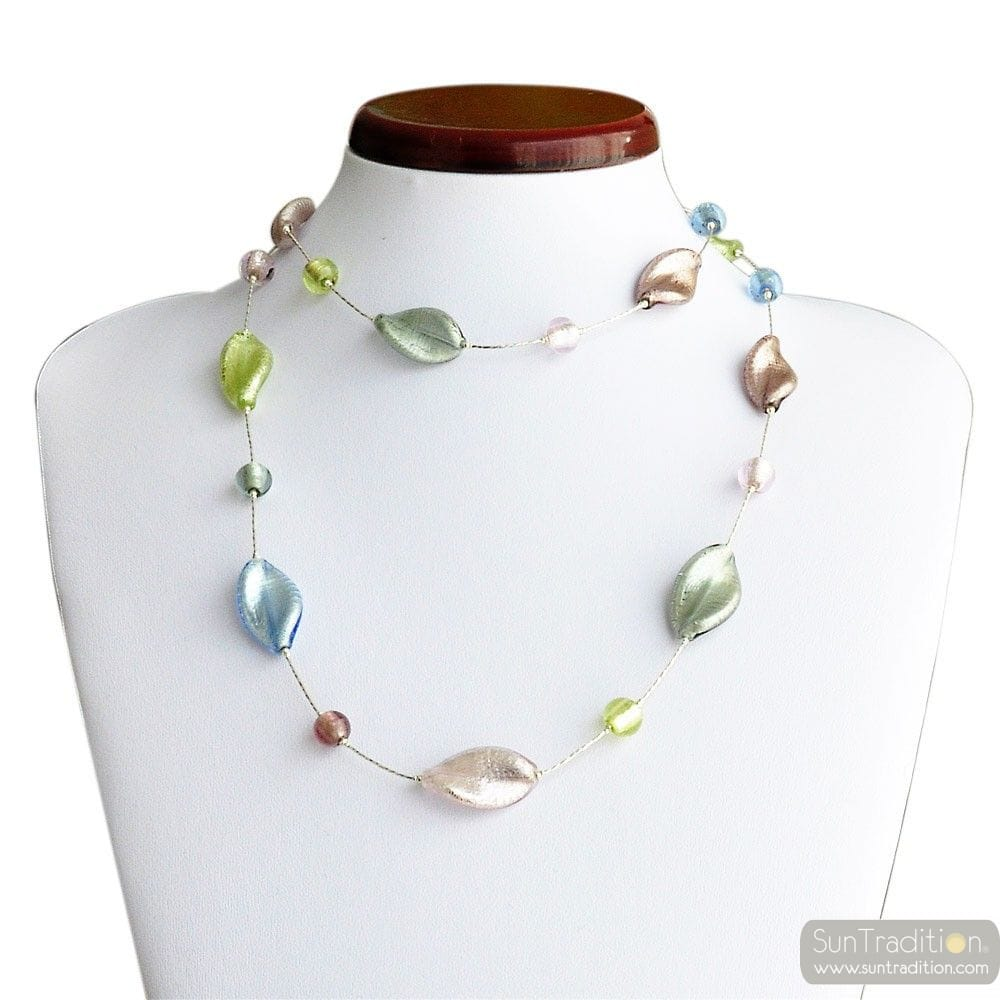 Chlorophylle long silver - Long multicolor silver glass beads necklace genuine jewellry from Venice Italy