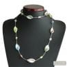 SILVER MURANO GLASS NECKLACE GENUINE VENITIAN GLASS