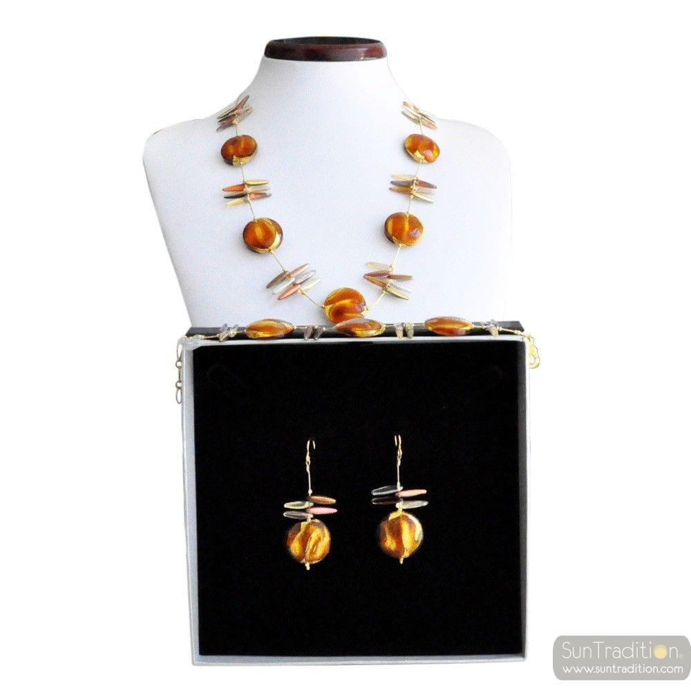 AMBER MURANO GLASS JEWELRY SET