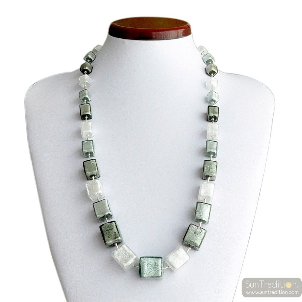 GRADIENTS CUBES SILVER NECKLACE GLASS MURANO VENICE