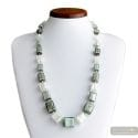 Cubes silver - Silver Murano glass cube beads necklace genuine venitian jewellry of italy