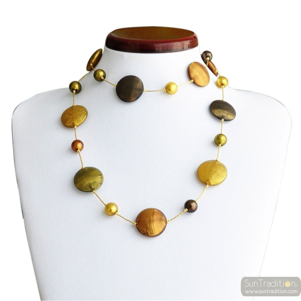 GOLD MURANO GLASS NECKLACE IN REAL VENICE MURANO GLASS
