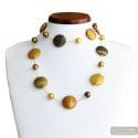 FRANCY SATIN GOLD LONG NECKLACE IN VENICE MURANO GLASS