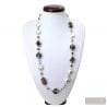 SILVER MURANO GLASS NECKLACE VENITIAN GLASS MOTLEY BROWN
