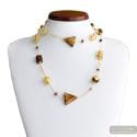 ASTEROID AMBER GOLD NECKLACE LONG GENUINE MURANO GLASS