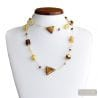 AMBER GOLD MURANO GLASS NECKLACE LONG GENUINE MURANO GLASS